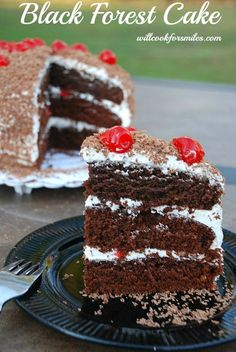 Black Forest Cake - a soft, moist cherry chocolate cake! The flavor is also amazing, it really tastes like chocolate covered cherry.