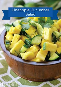 This Pineapple Cucumber Salad screams summertime cookout! Enjoy this great recipe with your guests at your next outdoor get-together.
