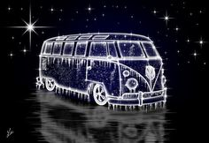 A digital art creation of a classic Volkswagen Split Screen Camper & or VW Combi. Shown here made from ice.