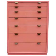 Blush Coral Lacquered Chest by Edward Wormley for Drexel | From a unique collection of antique and modern dressers at https://www.1stdibs.com/furniture/storage-case-pieces/dressers/