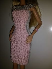 Crochet for Barbie (the belly button body type): Pink & Grey Dress Crochet Barbie Patterns, Crochet Doll Dress, Barbie Clothes Patterns, Crochet Barbie Clothes, Crochet Skirts, Doll Dress Patterns, Clothing Patterns, Shirt Patterns, Doily Patterns