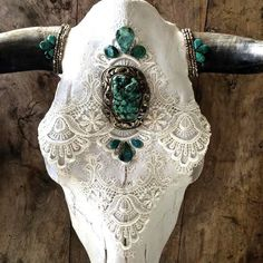 >> Natural Cow Skull with connected horns. >> White Venice Lace detailing on the front  >> Large sterling silver turquoise pendant vintage from Nepal. >> Ethiop