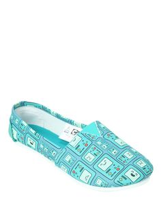 2acaab6c6c731 Adventure Time BMO Slip-On Shoes, BLUE Chaussures Slip On, Chaussures À  Talons