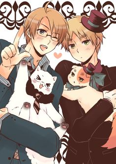 Hetalia | Nekotalia - America and Americat with England and Iggycat