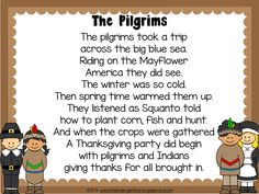The Pilgrims.  A poem about pilgrims and the first thanksgiving!  FREE!