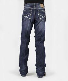 Blue Heavy Stitch Straight-Leg Jeans - Men's Regular