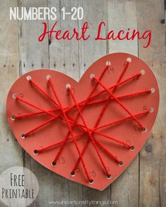 Great Valentine's activity for preschoolers to practice numbers from 1-20. Print off the printable and have kids lace the heart from 1-20. There is also a few different variations of the printable included in the post dependent on the child's skill level.