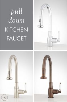 Make life in the kitchen easier and more stylish with this Kaesey Pull-Down Kitchen Faucet from Signature Hardware. We simply love how this fixture comes in a variety of metal finishes and has a traditional porcelain handle which gives it a timeless feel!