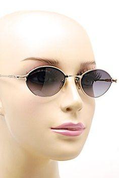 BADA BADA Platinum Plated Oval Frame Sunglasses w/Gray Lens - WONDERFUL - Los Angeles