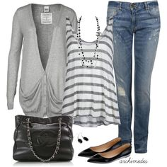 A fashion look from May 2012 featuring cardigan top, gray tank top und ripped boyfriend jeans. Browse and shop related looks.