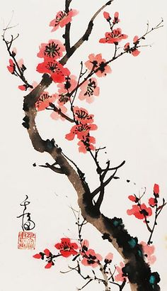 Grace Lin – Chinese painting – Flowers – Plum Blossom – Art and Literature Chinese Painting Flowers, Chinese Flowers, Japanese Painting, Japanese Art, Japanese Watercolor, Chinese Landscape Painting, Chinese Drawings, Chinese Art, Art Floral