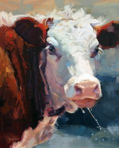 Hereford Cattle: Cool Drink on a Hot Day  by Daria Shachmut  Oil 20 x 16