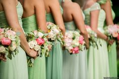 www.intrigue-designs.com Mixed bridesmaid dresses in shades of sea foam, mint and pistachio are a perfect pairing to the coral, blush and green bouquets composed of peony, garden roses, eucalyptus .  Photography: L Hewitt - Floral Design: Intrigue Designs  - Coordination: Eventi Planning - Invitations + Stationery: Julie Song Ink - Wedding Dress: Coco by Hayley Paige |