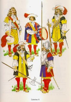 Spain;Provincial Tercios of Andalucia 1694; L to R Top Row Tercio Gibraltar Segeant Major, Tercio Seville, Drummer, Tercio Jaen, Musketeer. Bottom Row Tercio Jaen Sergeant Major & Tercio Seville, Pikeman. By Jose Bueno