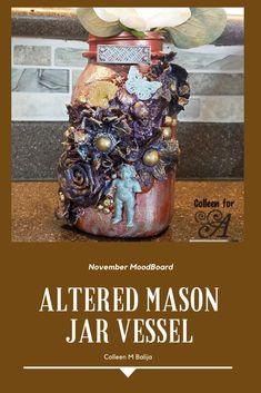 mixed media - mason jar - home decor Hello Everyone, Mason Jars, Mixed Media, Great Gifts, Holiday, Blog, How To Make, Handmade, Decor
