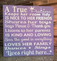$35 A True Princess A Wood Sign Pained in acrylic paint and vinyl lettering Size 12 x 12 Perfect gift for a girls room