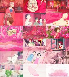 Colors of Studio Ghibli ~ Pink Hayao Miyazaki, Studio Ghibli Art, Japanese Film, Castle In The Sky, Ghibli Movies, Warrior Princess, Color Rosa, Anime Characters, Concept Art