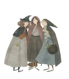 Three witches whom I've named Whoo (right), Whatt (left), and Whye (middle). (I didn't intentionally make the A Wrinkle in Time reference (I can't even remember the story!) but you guys can interpret it that way if you want! ) ^^ not mine but too cute! Texture Illustration, Children's Book Illustration, Three Witches, Witch Coven, Witch Fashion, Dibujos Cute, Witch Art, Halloween Art, Art Inspo