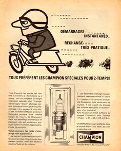 Bougie moto Champion, 1965.