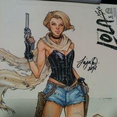 Lola XoXo Full body colored sketch cover by Siya Oum