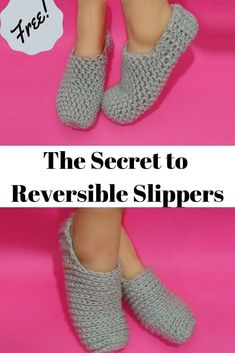 Who doesn't love quick and easy crochet slippers? Depending on your crochet speed and size choice, you can have this project done in about an hour. Crochet Sock Pattern Free, Crochet Slipper Pattern, Loom Knitting Patterns, Crochet Patterns, Knitting Tutorials, Stitch Patterns, Easy Patterns, Crochet Ideas, Free Crochet