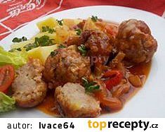 Kouličky z mletého masa pečené v domácím leču recept - TopRecepty.cz Beef, Ethnic Recipes, Food, Meat, Essen, Meals, Yemek, Eten, Steak