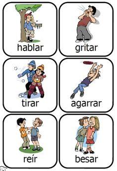 What a fun way to learn Spanish verbs! 48 printable cards -- PrintableSpanish.com #learning #spanish
