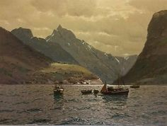 Large vintage painting of Norway Fjords by Reidar Steinnes oil on canvas