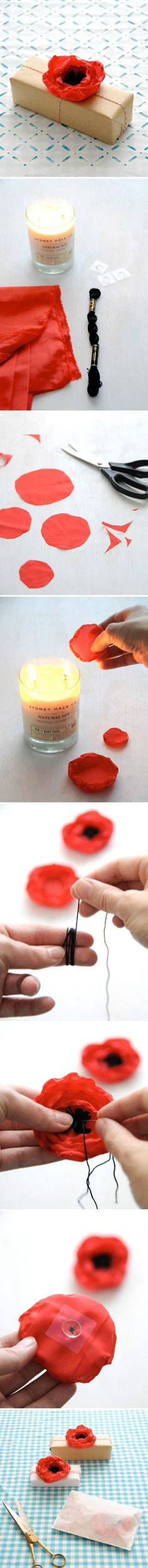 DIY Poppies: try making a bunch of these and sticking them to a foam ball with wire/ pins as a homemade bouquet