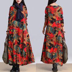 UK8-24-ZANZEA-Women-Ethnic-Floral-Cotton-Linen-Casual-Baggy-Long-Maxi-Dress-Robe