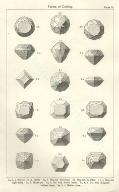Gem stone cutting illustration, 1950s | DRAWING AND MANUAL