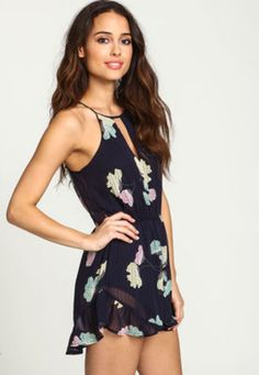 Floral Chiffon Ruffle Romper - LoveCulture