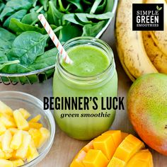 Beginner's Luck Green Smoothie // 2 cups spinach, 2 cups water or ice, 1 cup mango, 1 cup pineapple, 2 bananas
