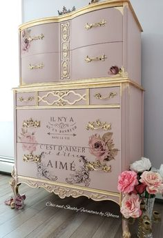 Chic and Shabby Furniture By Rebecca French Provincial Dressers Make Over Chic a. Chic and Shabby Pink Furniture, Decoupage Furniture, Hand Painted Furniture, Refurbished Furniture, Shabby Chic Furniture, Shabby Chic Decor, Furniture Projects, Furniture Makeover, Cool Furniture