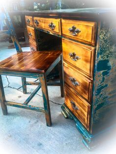 Long Antique Burnt Wood Desk With Matching Chair The Desktop Drawer Faces Seat Are All While Rest Of Have Been