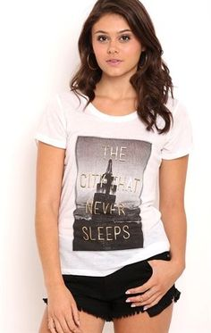 Deb Shops Short Sleeve Tee Shirt with City That Never Sleeps Screen