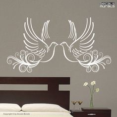 Wall decals TWO LOVE DOVES Vinyl surface graphics by decalsmurals. $16.99 USD, via Etsy.