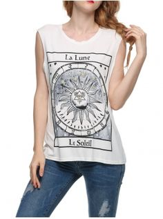 Summer Women O Neck Sleeveless Printed Loose Blouse Cool Shirt Great T Shirts, T Shirts For Women, Clothes For Women, Best Tank Tops, Dress Link, Shirt Sale, Casual Outfits, Street Style, Blouse