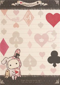 white Sentimental Circus rabbit clubs hearts spades Memo Pad 4