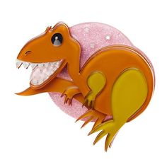 The Erstwildersaurs are back!  Only Erstwilder could make a T-Rex look cute and turn it into a brooch. Orange T-Rex on a pink glittery background.  Laser cut resin, hand assembled and hand painted, presented in a branded box as shown, with a cute teapot tag.