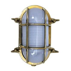 This oval, bulkhead light is rugged enough for exterior use. It is lavish-looking for the main salon. It is safely mounted with the help of screws. Outdoor Barn Lighting, Outdoor Wall Lantern, Farmhouse Lighting, Outdoor Flush Mounts, Outdoor Sconces, Nautical Home Decorating, Decorating Ideas, Nautical Interior, Nautical Lighting