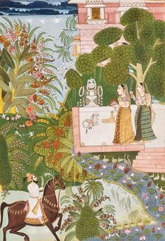 Rajput princesses preparing for Shiva puja (worship) on the terrace. Bundi, India