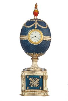 Decorative Faberge Egg & Music Box Chicken with Clock 8.9'' (22.5 cm) light blue