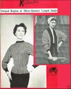 1960's VINTAGE MACHINE PATTERN: KNITMASTER RAGLAN & ¾ JACKET