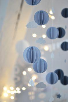Guirlande sphères bleu-gris doux Joyeux Noël!!!