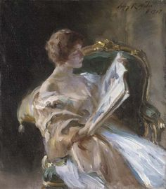 """The Storybook Irving Ramsey Wiles (American, Oil on canvas. """"As a painter Mr. Wiles is greatly to the fore just at present … You can appreciate his work more when you understand. People Reading, Woman Reading, Reading Art, Reading Books, Portraits, Portrait Art, Image Avatar, Louis Aragon, Books To Read For Women"""