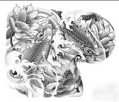 Koi Tattoo Sleeve, C Tattoo, Koi Fish Tattoo, Lion Tattoo, Koi Tattoo Design, Japan Tattoo Design, Full Hand Tattoo, Full Arm Tattoos, Koi Painting