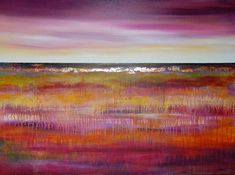 purple gold abstract art   Purple Landscape - contemporary mixed media abstract landscape ...