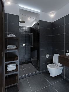 Bathroom tile ideas will amp up your small bathroom with a touch of creativity and color modern bathroom tile floors large bathtub small shower Black Tile Bathrooms, Modern Bathroom Tile, Bathroom Floor Tiles, Modern Bathroom Design, Bathroom Interior Design, Shower Tiles, Room Tiles, Bathroom Designs, Bathroom Faucets