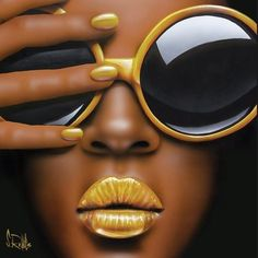 Photo by 004couture on August 05, 2020. Image may contain: one or more people and closeup Canvas Wall Decor, Canvas Artwork, Canvas Frame, Canvas Art Prints, Gold Lipstick, Simple Oil Painting, Black Women Art, Black Art, Fashion Wall Art